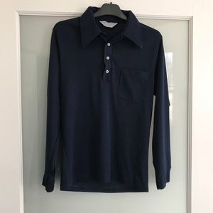 Vintage long sleeve collared shirt in navy